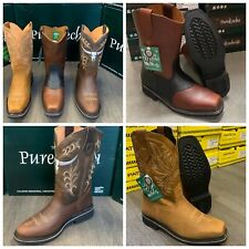MEN'S WORK BOOTS GENUINE LEATHER STRAP SQUARE PIG TOE RODEO BROWN MANGO COWBOY