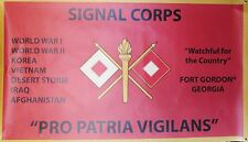 SIGNAL CORPS FT GORDON GEORGIA 3'X5' 2PL POLYESTER 1-SIDED INDOOR 4 GROMMET FLAG