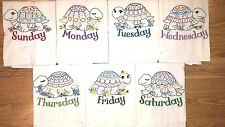 TURTLE DAYS OF THE WEEK EMBROIDERED FLOUR SACK DISH TOWELS