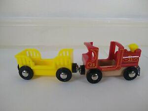 Brio Disney Wooden Train Engine with Yellow Car