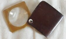 Vintage Pocket Magnifying Glass In Brown Leather Case
