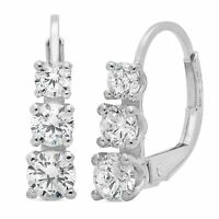 2.6CT 3 Stone Round Cut Solitaire Earrings 14K White Gold Past Present Future