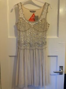 VERY *BNWT* sequin and bead embellished cream & silver dress 1920's style