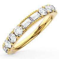 1.00Ct Round & Baguette Diamond Half Eternity Wedding Ring in 18K Yellow Gold