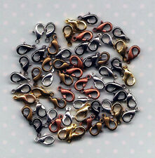 100 x 10mm Lobster Clasps 20 of Each Silver, Gold, Copper, Bronze and Black