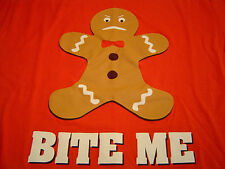 Rad ANGRY GINGERBREAD MAN 'BITE ME' T-Shirt Size L/Christmas/Cookie Punk/NEW!
