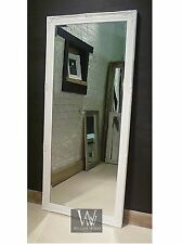 "Paris White Shabby Chic Leaner Antique Floor Mirror 65"" x 29"" X Large"