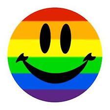 Large Gay Pride Rainbow Smile Metal Button Pin Lesbian