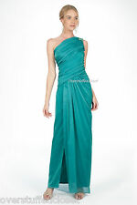NWT$370 Tadashi shoji Iridescent Chiffon One Shoulder Gown in Aztec Blue 8
