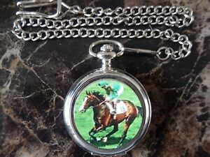 SHERGAR RACING HORSE CHROME POCKET WATCH WITH CHAIN (NEW)