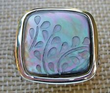 Silpada Fern Leaf Ring R2389 Sterling Silver Black Lip Shell Size 7 New In Box