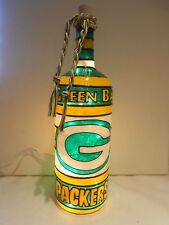Green Bay Packers inspired Bottle Lamp Lighted Handpainted Stained Glass Look