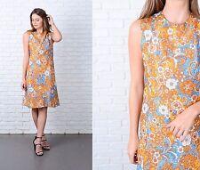 Vintage 60s Blue + Yellow Paisley Dress Mod A Line Psychedelic Medium M
