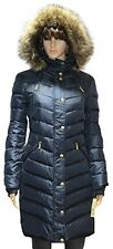 MICHAEL Kors Hooded Faux Fur Down Puffer Coat women's NAVY Knit panels jacket S