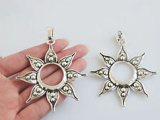 2 Large Open Flower Tibetan Silver Charms Pendants for Necklace Making Findings