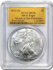 2013 (S) SILVER EAGLE PCGS MS70 FIRST STRIKE STRUCK AT SAN FRANCISCO GOLD FOIL