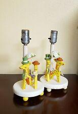 Irmi Nursery Plastics Inc Giraffe Lamps Safari Kids Zoo Animal Wooden 1960s