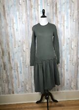 Cynthia Ashby S Olive Green Layered Asymmetric Knit Dress Lagenlook Art To Wear