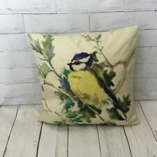 Blue Tit Bird Cushion Cover Retro Vintage Shabby Chic Linen Decorative Boho Gift