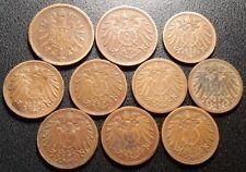 Allemagne - Wilhelm I et Wilhelm II - lot de x10 monnaies de 1876 à 1914 !