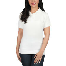 Ladies Polo Shirt Short Sleeve Womens Plain Pique Classic Top T Shirt Lot 18 - 20 White 1 Shirt