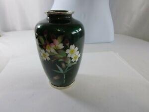 Vintage Japanese Ginbari Guilloche Enamel Cherry Blossom Flower Bamboo Vase