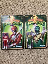 "Super7 Power Rangers Reaction 3.75"" Figures Red And Green Ranger Brand New"