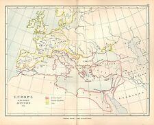 Carte antique ~ l'Europe à la mort de Justinien 565 franque Gothique Celtes romain