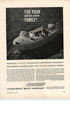 1961 PAPER AD Starcraft 16' Aluminum Lapstrake Runabout Motorboat Boat Yacht