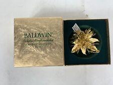 Poinsettia Snowflake Baldwin Brass Christmas Ornament Mib Ltd Edition 1999
