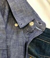 CHARLES TYRWHITT Mens Sport Dress Shirt Medium BLUE Blue Buttton Down SLIM FIT