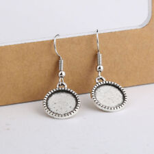 20pcs 12mm Antique silver Cabochon earring base settings blank earrings hooks