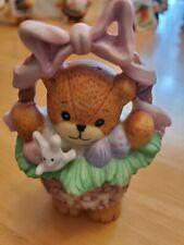Enesco Lucy & Me Bear in Easter Basket 1990