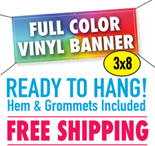 3' x 8' Custom Vinyl Banner 13oz Full Color - FREE SHIPPING