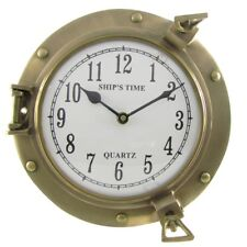 Solid Brass Ships Porthole Wall Clock Maritime ship's Nautical Beach House Decor
