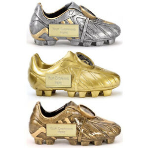 3D GOLDEN BOOT FOOTBALL TROPHY PERSONALISED PLAYER/MATCH AWARD *FREE ENGRAVING*