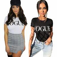 Women Ladies VOGUE Slogan Crew Neck Short Sleeve Casual Summer T-Shirt Basic Top