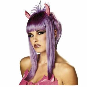 EDM Women's Devil Cupid Costume Wig Purple Pink Attached Horns Halloween Girl