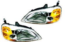 01 02 03 Civic Coupe Left & Right Headlight Headlamp Lamp Light Pair L+R