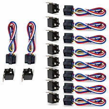 10 Pack Car 30/40 Amp Relay Automotive Harness Socket 5 Wires Spdt 5 Pin Dc 12V