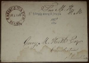 USA S. BRIDGEWATER MASSACHUSETTS JULY 16. 1821. HAND DATED STAMPLESS COVER