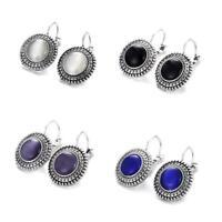 Big Long Drop Earrings Hippie Boho Dangle Silver Round Tibetan F8G3