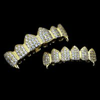 14K Gold Plated CZ Cluster Custom Slugs Top Bottom Fang GRILLZ Mouth Teeth Set