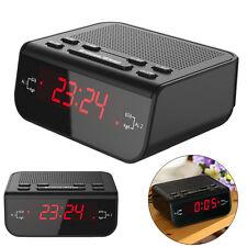 LED Digital Réveil-Radio FM station Sommeil/Snooze Function EU Plug Noir