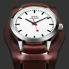 ESS Mens Watch Automatic White Dial 20mm Leather 3 Hands Analog Display Luxury