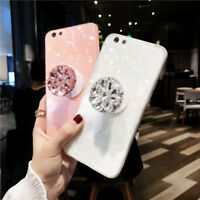 Glossy Bling Diamond Airbag Stand + Strap Case Cover for iPhone XS Max XR XS X