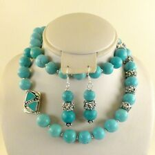 """JFTS, Blue, Turquoise, Aqua, Crystal, Bead, Necklace 2 Pc Set, Silver, 25 1/2"""""""