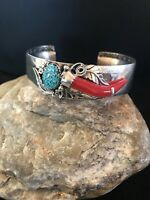Native American Navajo Sterling Silver Spider Web Turquoise Coral Bracelet 8367