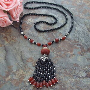 H090603 45''Onyx Red Agate Necklace