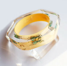 Unique yellow lucite bracelet with real exotic green insects by Kolos Designs